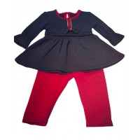 Baby Girls Navy/Red Lounge Set