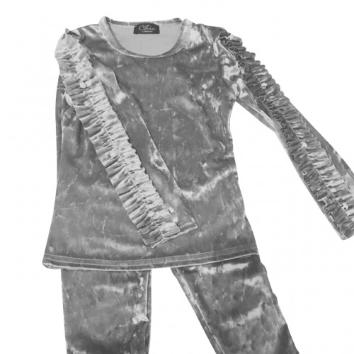 Girls Ruffle Arm Velour Lounge Set - Silver