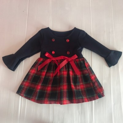 ANNIE-TARTAN NAVY/RED DRESS