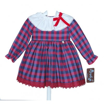 RICITTOS TARTAN FRILL NECK DRESS