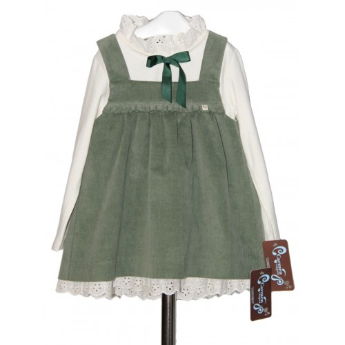 Girls Sage Green Pinafore Dress & Top