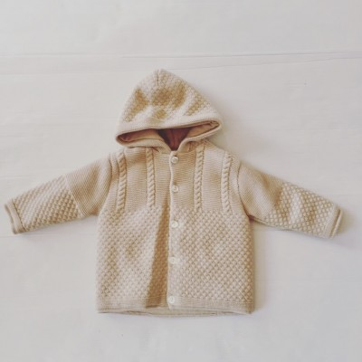 KNITTED HOODED CARDIGAN BEIGE