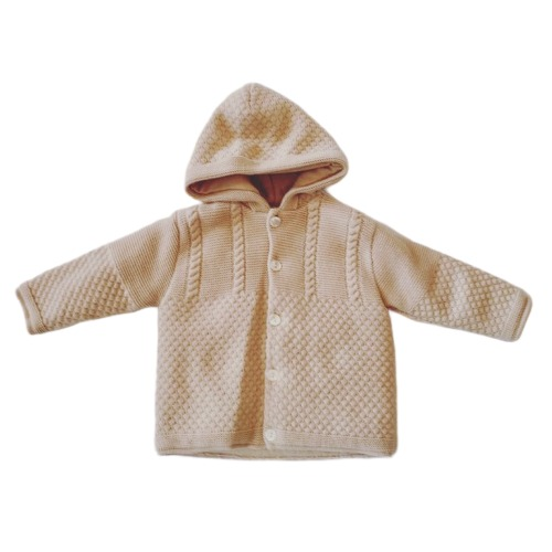 Beige Hooded Cardigan