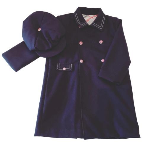 Boys Navy Coat With Matching Flat Cap