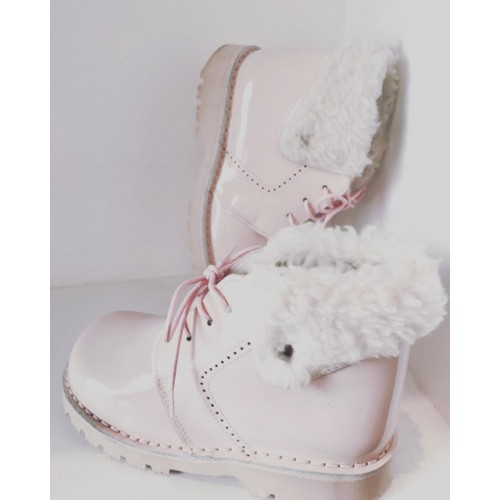 Girls Pink Patent Fur Boots