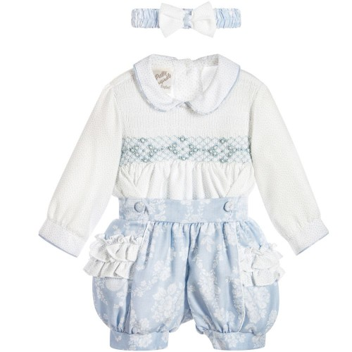 Traditional Smock Blouse & Shorts Set with Matching Headband
