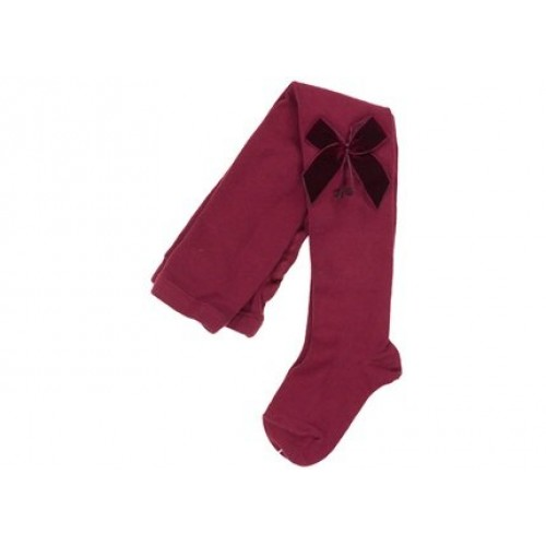 Burgundy Velvet Bow Tights