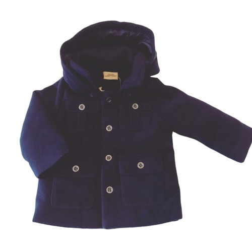 Boys Navy Hooded Coat