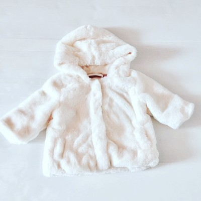 Girls Cream Hooded Fur Coat