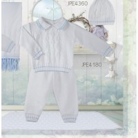 PRETTY ORIGINALS BOYS WHITE KNITTED TROUSER SET
