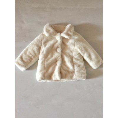 Baby Girls Cream Fur Coat