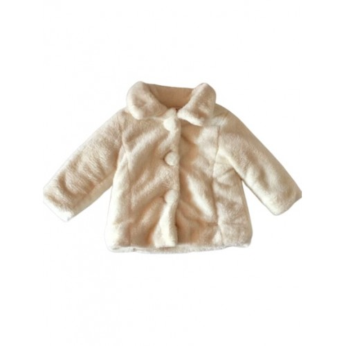 Baby Girls Cream Faux Fur Coat