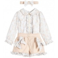 Beige Floral Blouse & Shorts Set