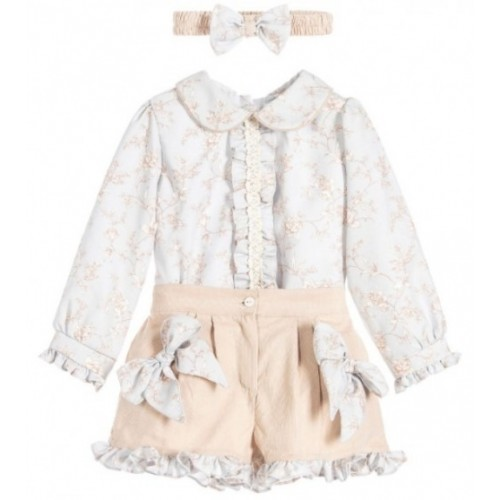 Baby Blue/Beige Floral Blouse & Shorts Set with matching headband