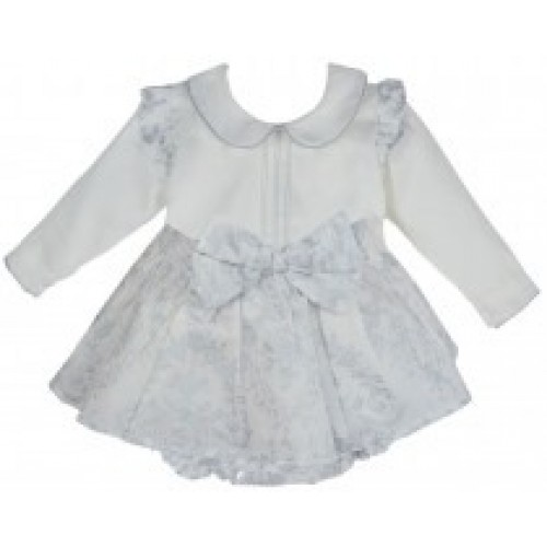 Baby Girls Silver & White Skirt & Blouse Set