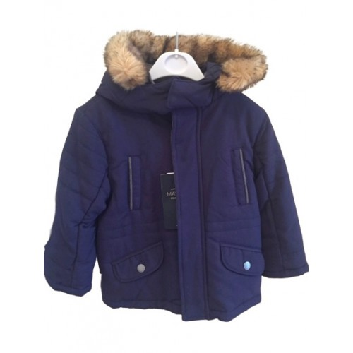 Boys Navy Blue Fur Hooded Coat