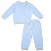 Boys Blue Knitted Trouser Set