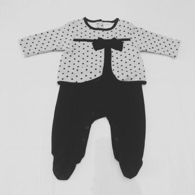 Baby Girls Spotty Romper - Grey