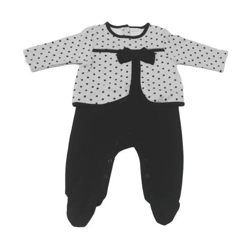 Baby Girls Spotty Romper - Grey