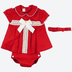 Baby Girls Red Bow Dress and Jam Pant Set