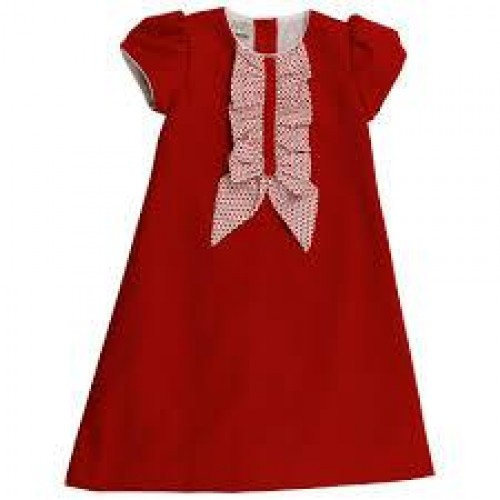 Girls Red Polka Dot Bow Dress