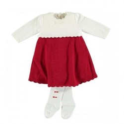 Girls Red/Cream Knit Dress with Tights