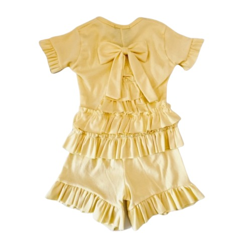 Yellow Ruffle Shorts Set