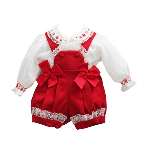 Girls Red & Ivory Shorts Set