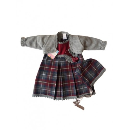 Girls Burgundy/Grey Dress, Cardigan and Matching Bonnet Set