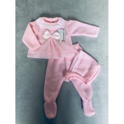 BABY GIRLS PINK KNIT SET WITH BONNET