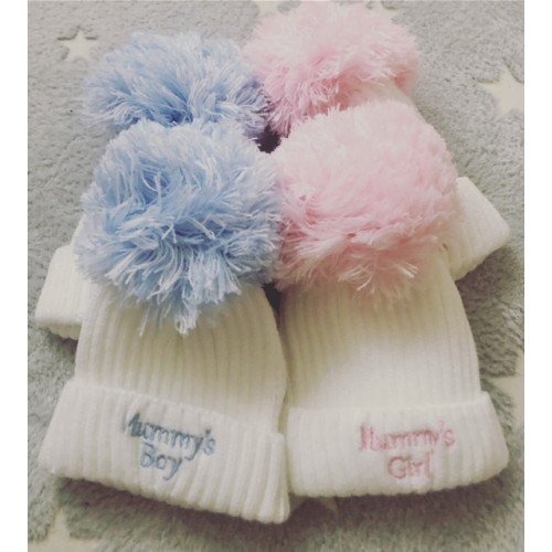 MUMMY'S BOY OR GIRL POM POM HATS