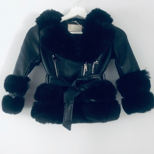 GIRLS FAUX FUR COAT BLACK